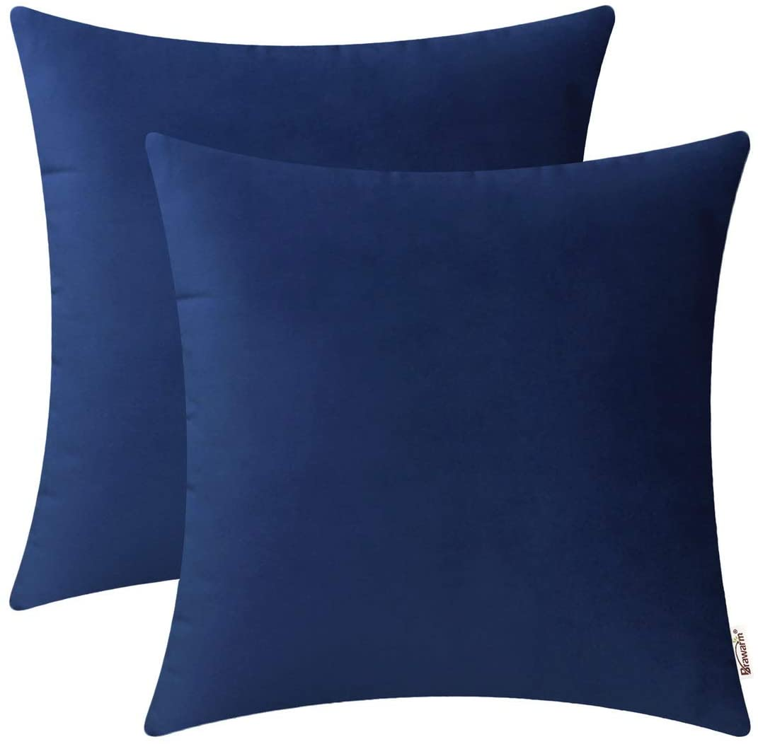 BRAWARM Pack of 2 Cozy Throw Pillow Covers Cases for Couch Sofa Home Decoration Solid Dyed Soft Velvet Both Sides 22 X 22 Inches Navy Blue