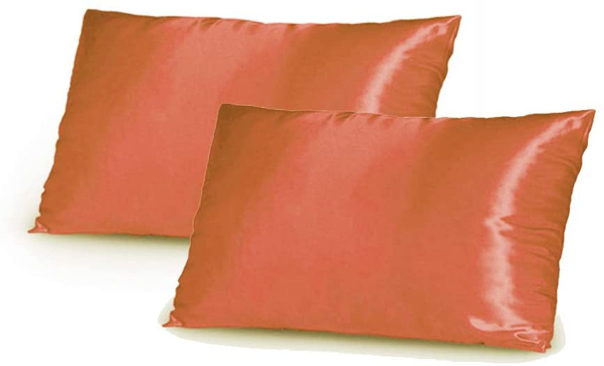 TAOSON Silky Soft Satin Pillow Cover Pillowcase Pillow Protector Cushion Cover, Set of 2 - King Size (21x36 inches Fits 20 x 36 Pillows, 21 x 36 Pillows) with Envelope Closure, Orange