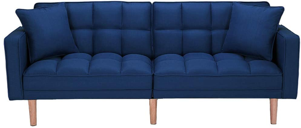 Modern Futon Sofa Bed, Convertible Sleeper Sofa with Armrests and 2 Pillows, Recliner Couch with 5 Solid Wooden Legs, Twin Size Sofa for Living Room Handpicked Fabric (Dark Blue)