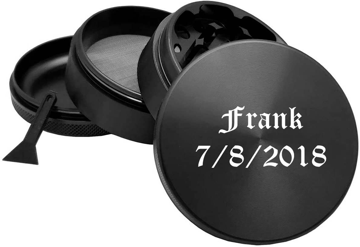 Gifts Infinity Personalized Herb, Spice Durable 62mm 2.5 Inches Grinder free engraving (Black)