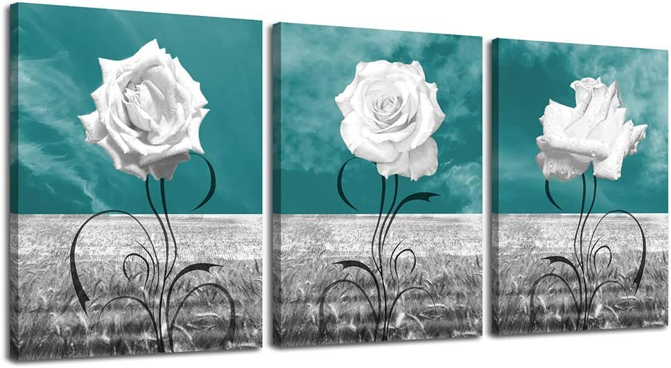 LKY ART Canvas Print Wall Art White Rose Picture Oil Painting,Modern Nature Artwork Plants Teal Wall Decor Artwork on Canvas 3 Panel Modern Nature Landscape Poster Ready to Hang for Home Decoration