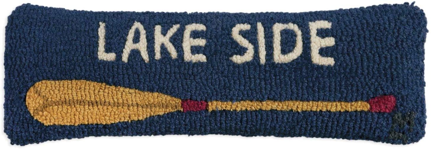 "Chandler 4 Corners Artist-Designed Lakeside Oar Hand-Hooked Wool Decorative Throw Pillow (8"" x 24"")"