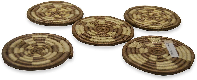 African Gift Shop Handmade Rwanda Tea Mats Made of Sweet Grass | Heat Resistant Round Woven Trivets in Brown & Skin Color
