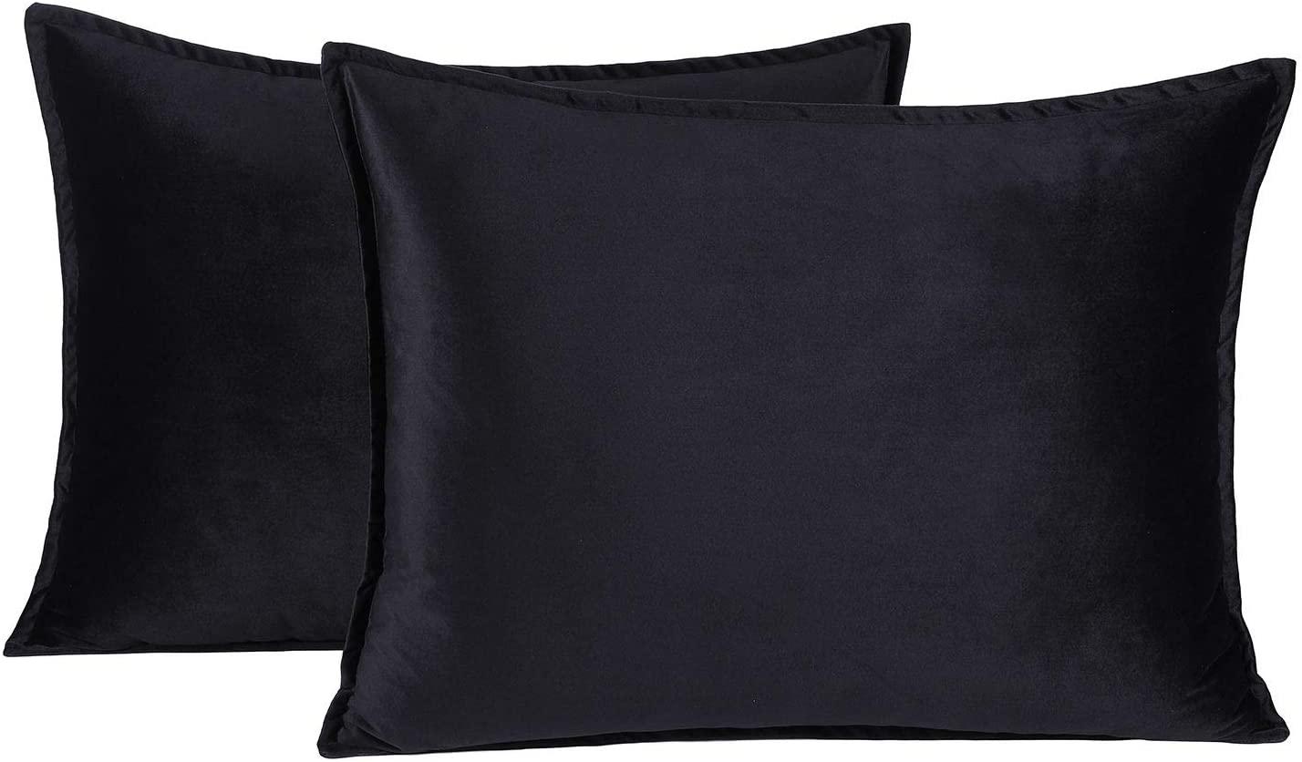 Colorxy Standard Velvet Pillow Cases, Soild Soft Pillow Shams, Decorative Throw Pillow Covers, 20x26 inch, Set of 2, Black