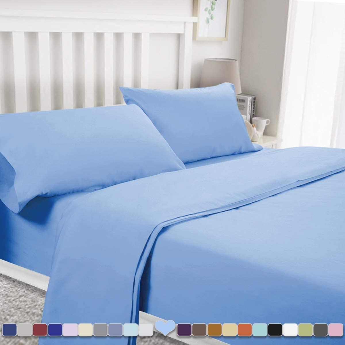 BYSURE 4 Pieces Full Bed Sheet Set - 1800 Soft Durable Brushed Microfiber, 15 Inch Deep Pockets, Wrinkle & Fade Resistant (Full, Sky Blue)