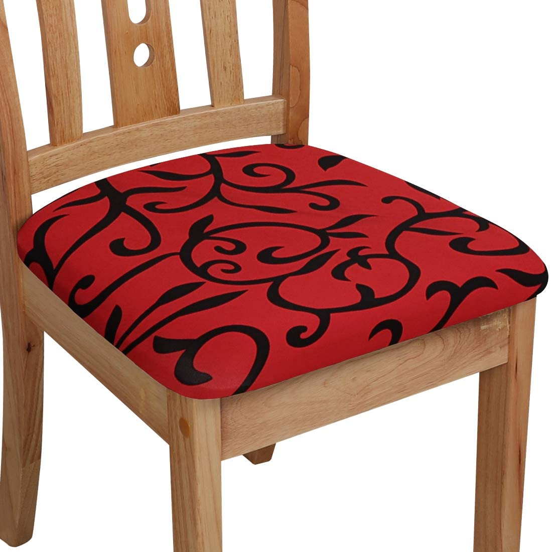 PiccoCasa Chair Seat Cover Cushion with Ties, Polyester Stretchable Printed for Dining Room Kitchen Chairs Slipcover, Set of 4 Red and Black