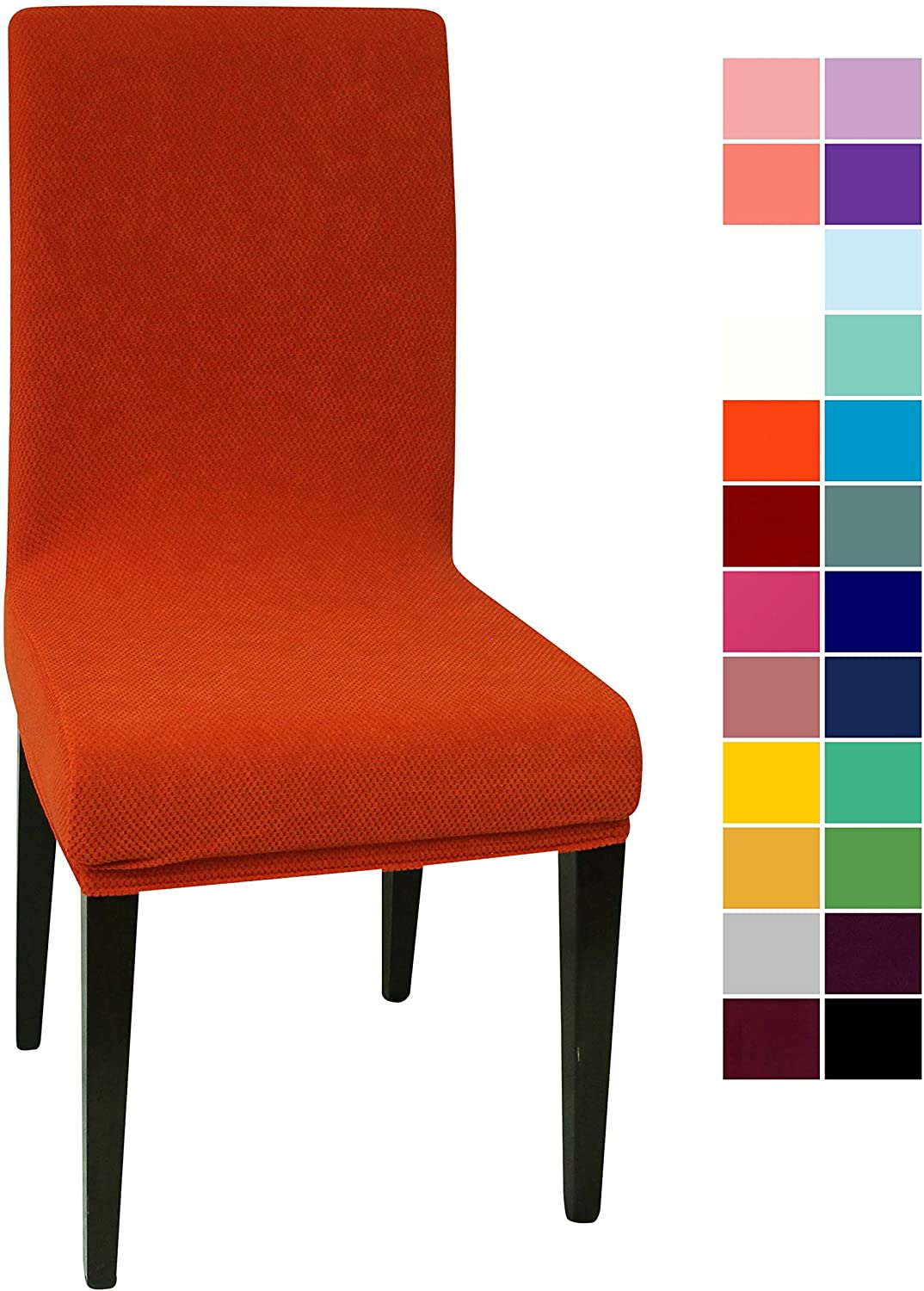 Orange Jacquard Spandex Dining Chair Covers - 4 PCS Stretch Removable Washable Dining Chair Slipcovers (Orange Jacquard, 4)