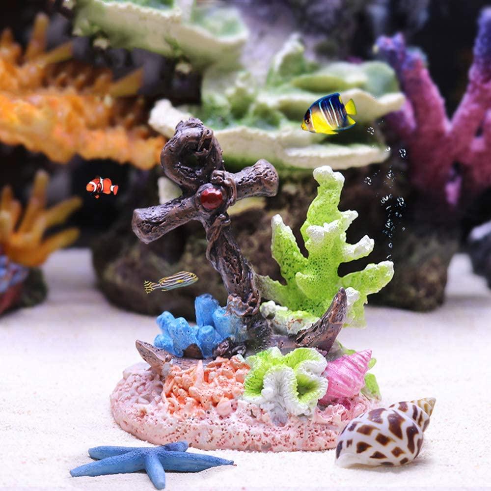 Danmu 1Pc of Polyresin Coral Ornaments, Aquarium Coral Decor for Fish Tank Aquarium Decoration 3 7/10
