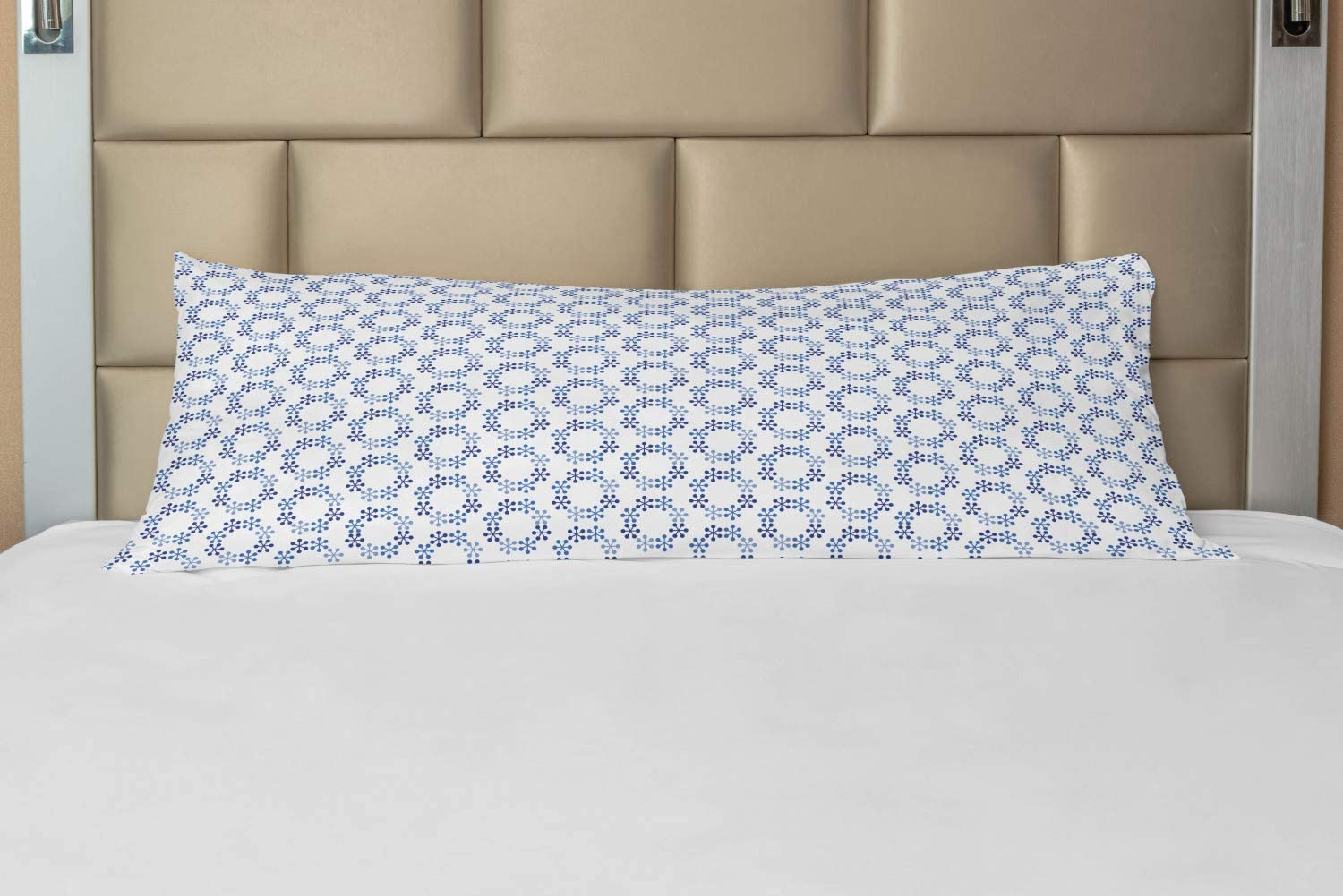 Lunarable Moroccan Body Pillow Case Cover with Zipper, Minimalist Approach of Hexagonal Modern Geometric Blue Tones, Decorative Accent Long Pillowcase, 21 x 54, Turquoise Dark Blue