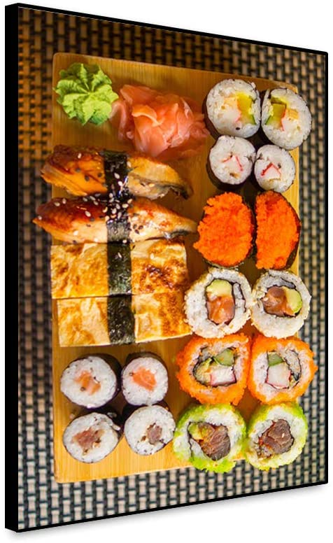 Musemailer Framed Canvas Wall Art Prints 16x24 Sushi Picture Plate of Various Sushi Delicious Traditional Japanese Food Canvas Wall Decor Printed Poster for Wall Decoration Restaurant Sushi Bar