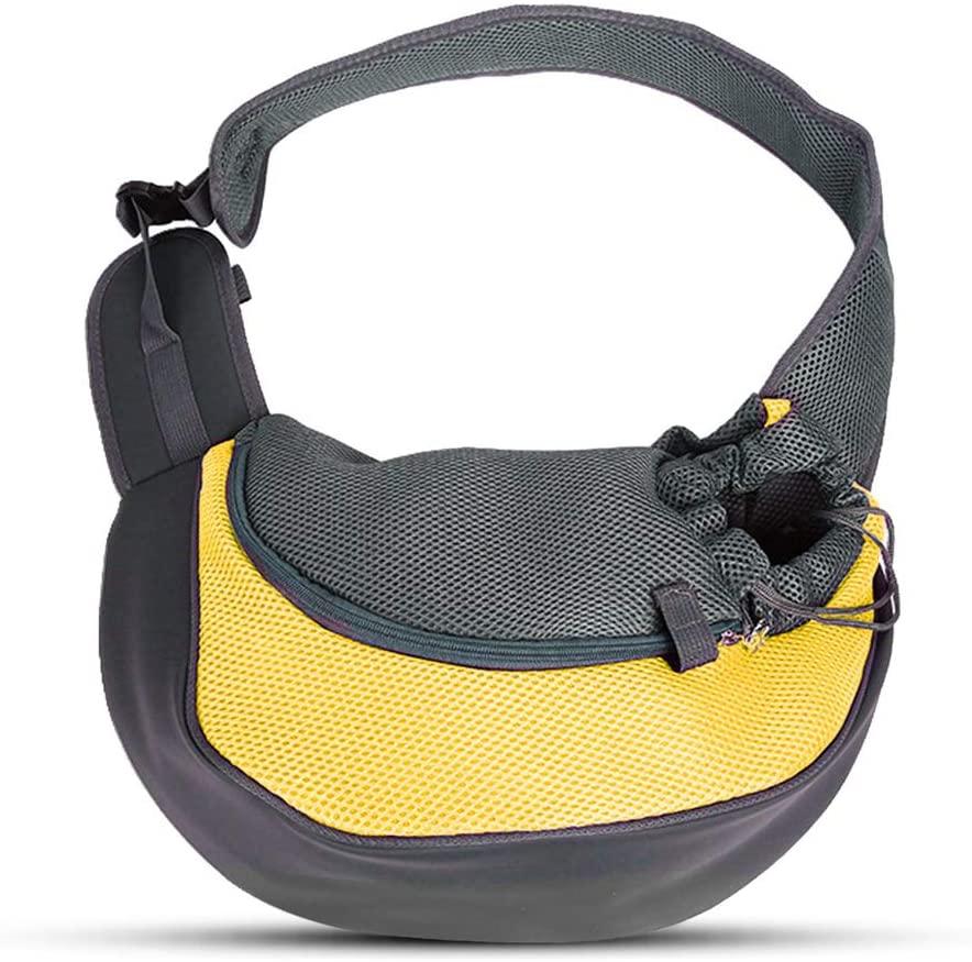 PETEMOO Pet Sling Carrier Bag, Hand-Free Dog Cat Outdoor Travel Shoulder Bag with Adjustable Strap& Zipper