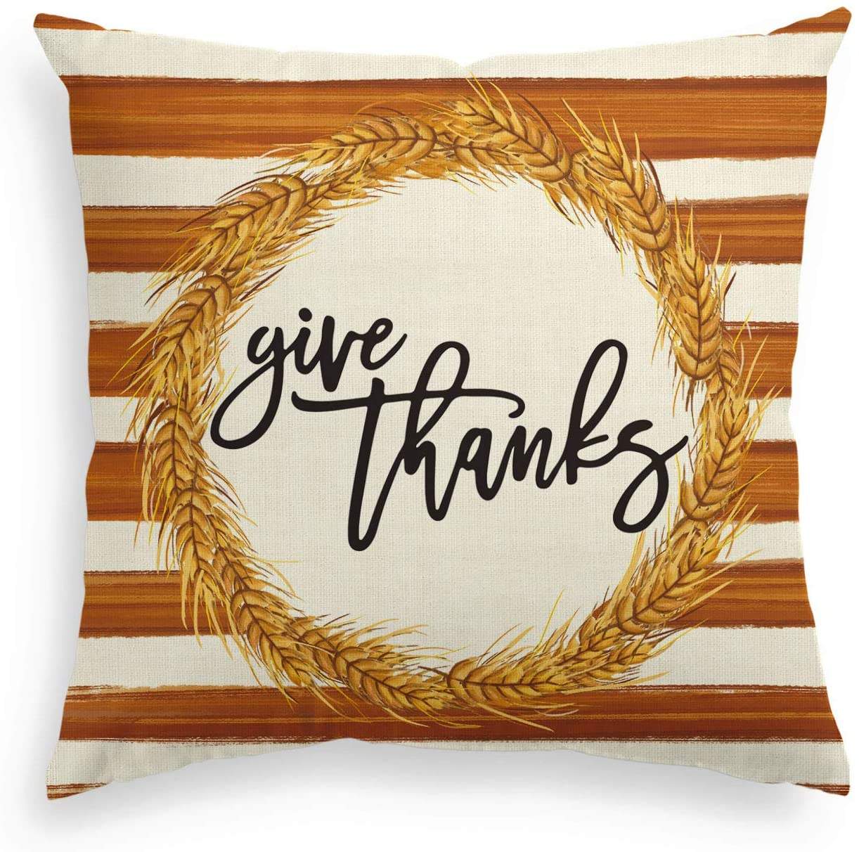 AVOIN Fall Give Thanks Wheat Wreath Watercolor Stripes Throw Pillow Cover, 18 x 18 Inch Autumn Thanksgiving Farmhouse Harvest Cushion Case Decoration for Sofa Couch