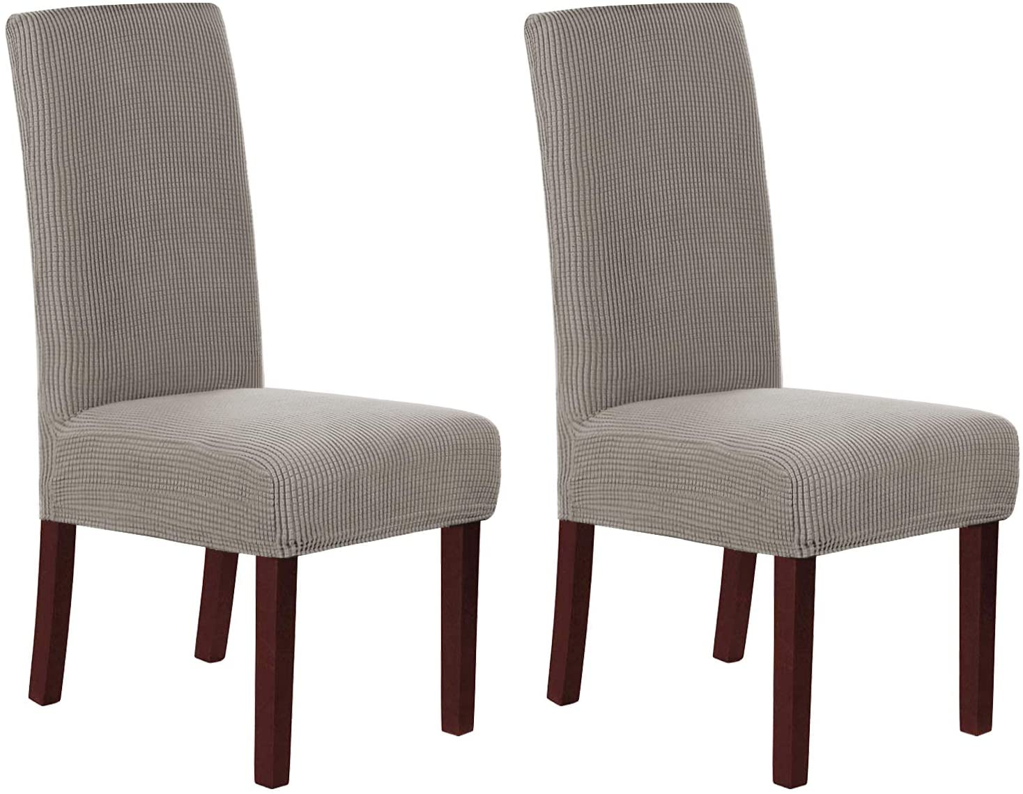 H.VERSAILTEX Stretch Dining Chair Covers Set of 2 Chair Covers for Dining Room Parsons Chair Slipcover Chair Protectors Covers Dining, Feature Textured Checked Jacquard Fabric, Taupe