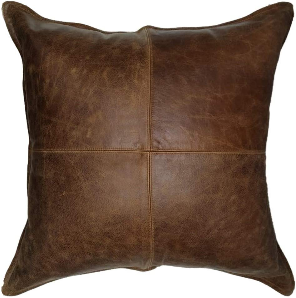 Benjer Skins Genuine Leather Cushion Covers, Soft Leather Pillow Case, Gift Pillow, Living Decor, Home Decor, Throw Case Cover Brown Crunch 20