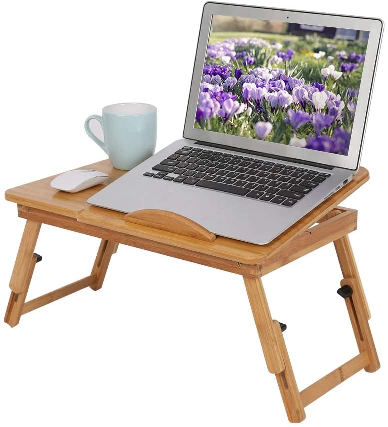 Laptop Desk for Lap, Adjustable Bamboo Lap Desk Bed Tray Notebook Stand Foldable Breakfast Serving Tray with Tilting Top Drawer and Folding Leg for Bed Sofa Couch Reading Writing Eating