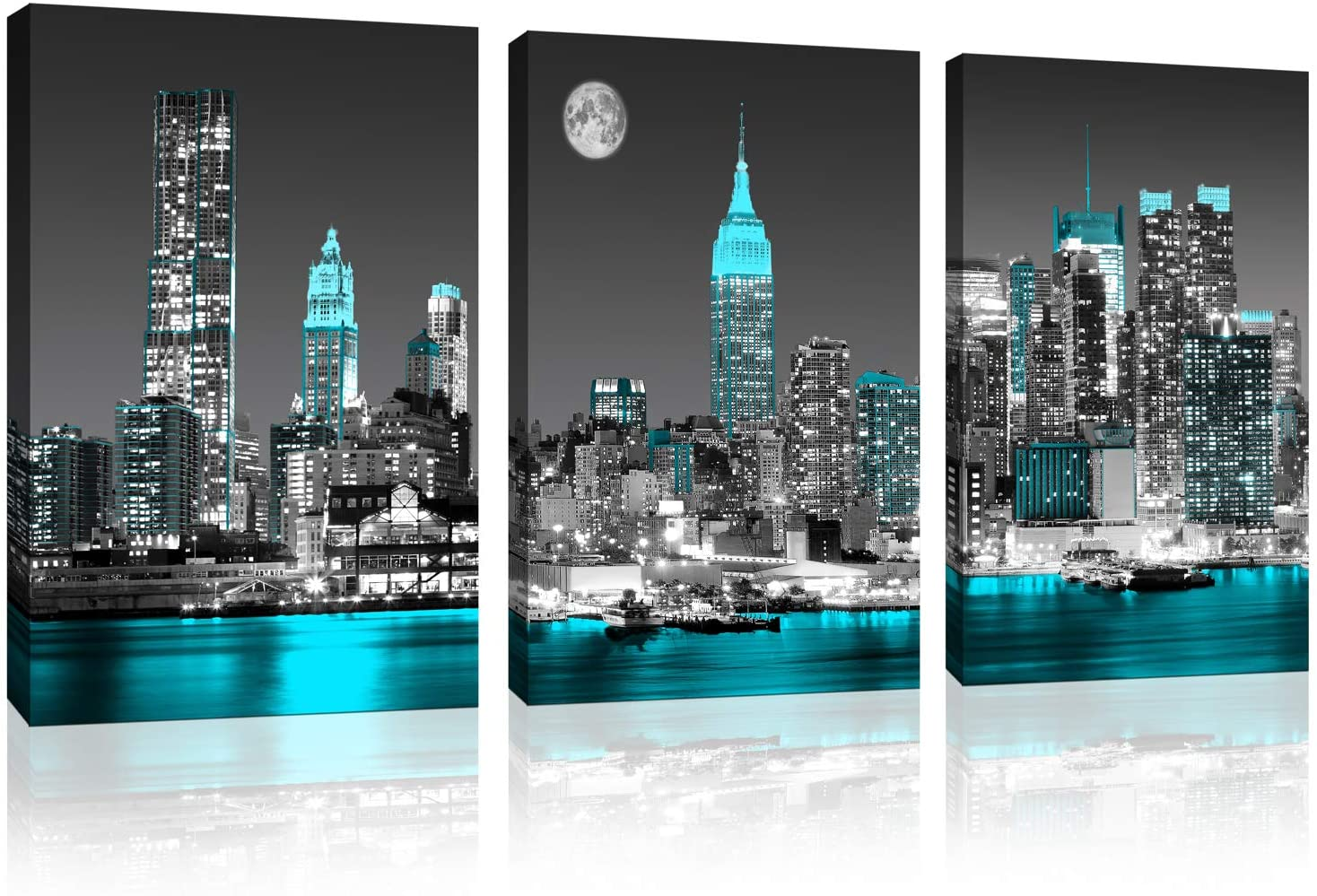 Canvas prints Black and white New York city Wall Decoration Empire State Building skyline blue city wall art for bedroom living room office Decoration 3-piece set 12