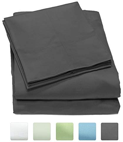 Callista 100% Cotton Sateen Sheet Set 300 Thread Count -Full Size, Wrinkle-Free, Fade, Stain Resistant, Hypoallergenic -1 Flat Sheet, 1 Fitted Sheet and 2 Pillowcase -4 Piece Set -Grey