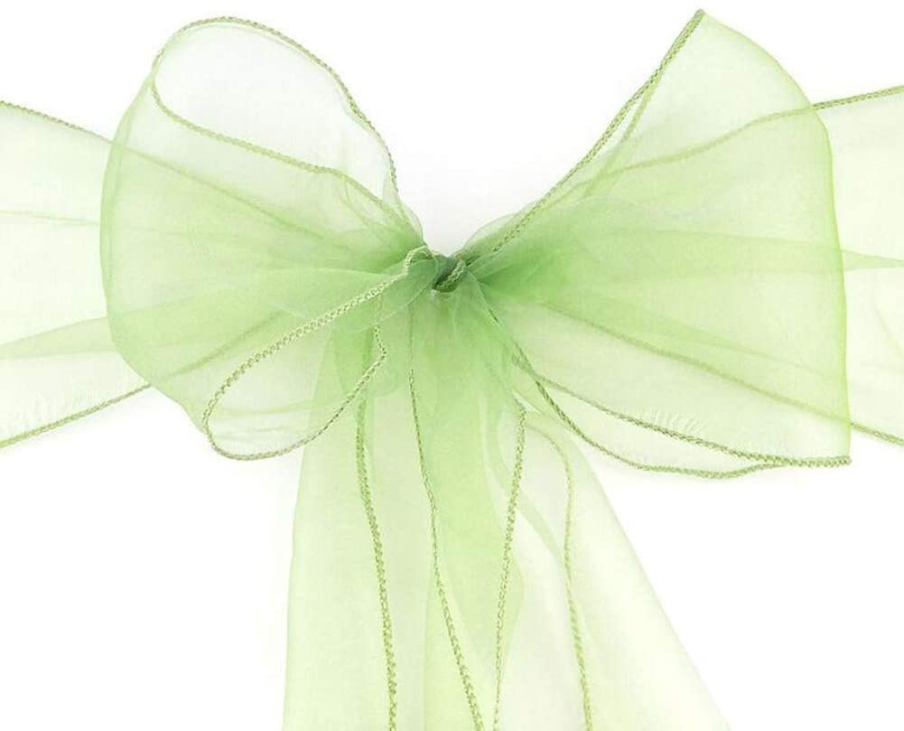 ocharzy Organza Chair Sashes Bow for Wedding Party Chair Decoration (20 pcs, Green)