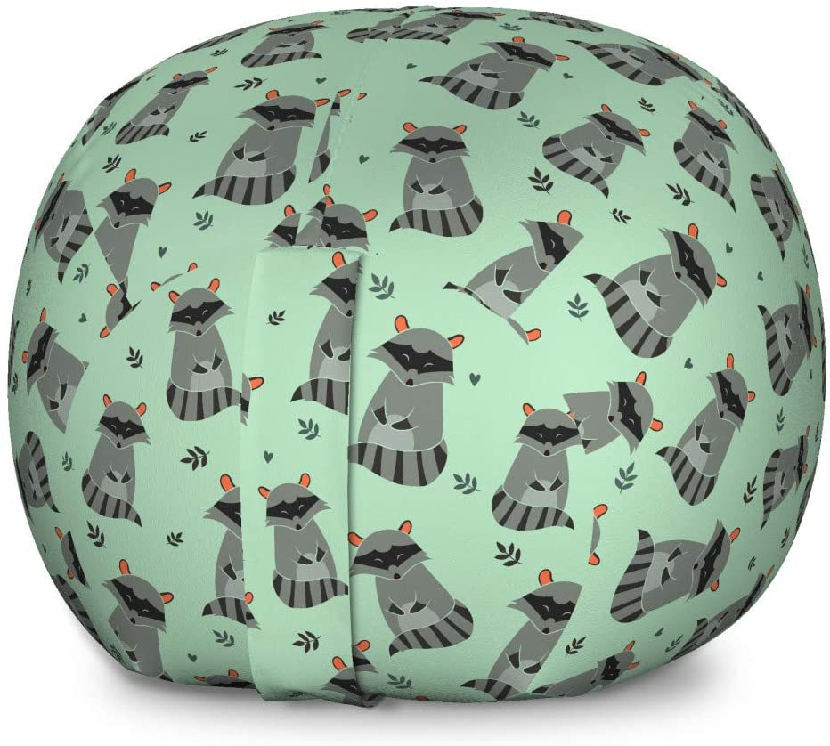 Lunarable Raccoon Storage Toy Bag Chair, Forest Animal Kids Playroom Nursery Boys Girls Baby Shower Toddler, Stuffed Animal Organizer Washable Bag for Kids, Large Size, Grey Almond Green