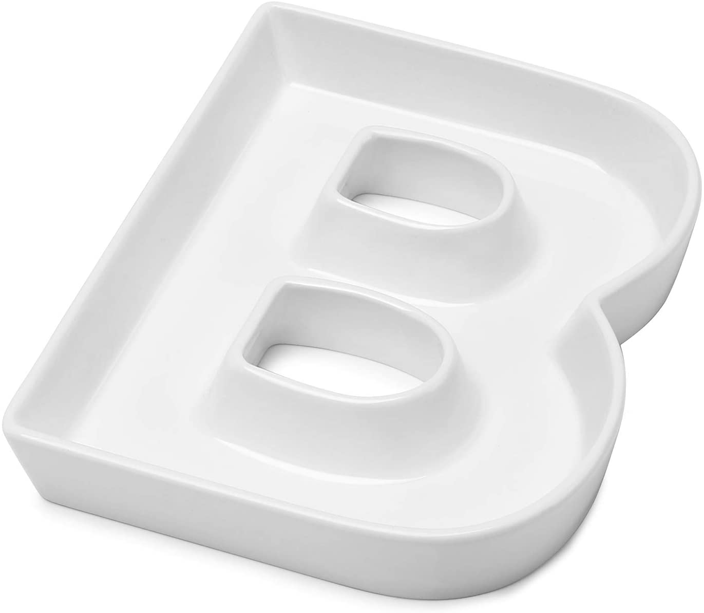Sweese 708.902 Porcelain Letter Candy Dish, Letter B, White - Decorative Serving Dish for Weddings, Anniversaries, Birthday Party, Table Decoration