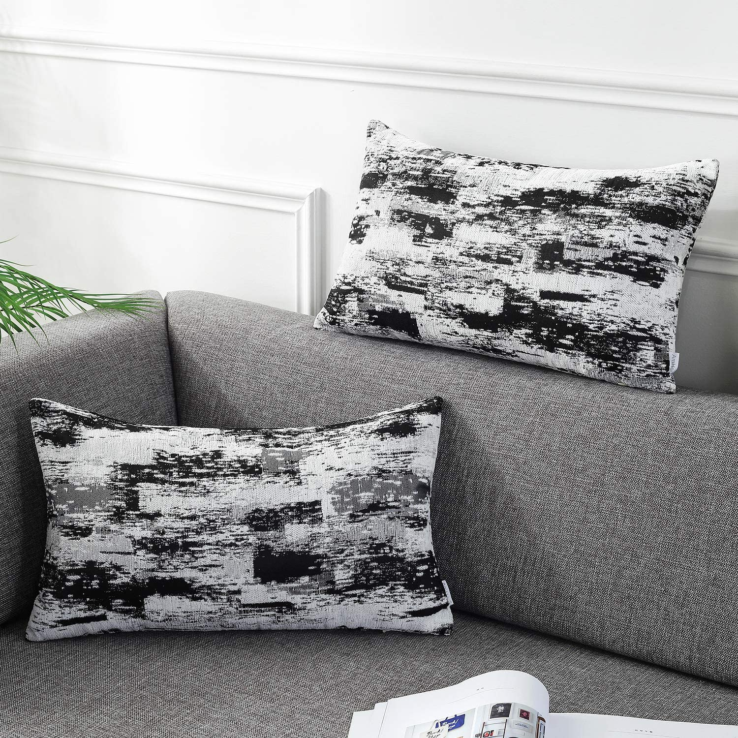 AmHoo Pack of 2 Chenille Abstract Plaid Throw Pillow Covers Art Decorative Square Accent Pillowcase for Cushion Bed Sofa 12x20Inch Black