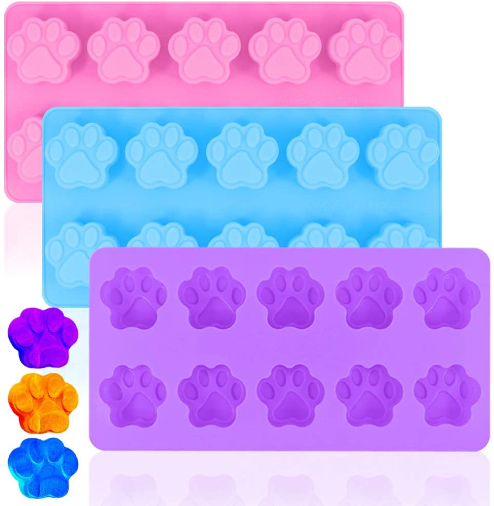 Paw Print Silicone Molds,DanziX 3 Pack Non-Stick Trays for Chocolate,Candy,Jelly,Ice Cube,Dog Cat Treats-Purple,Blue and Pink
