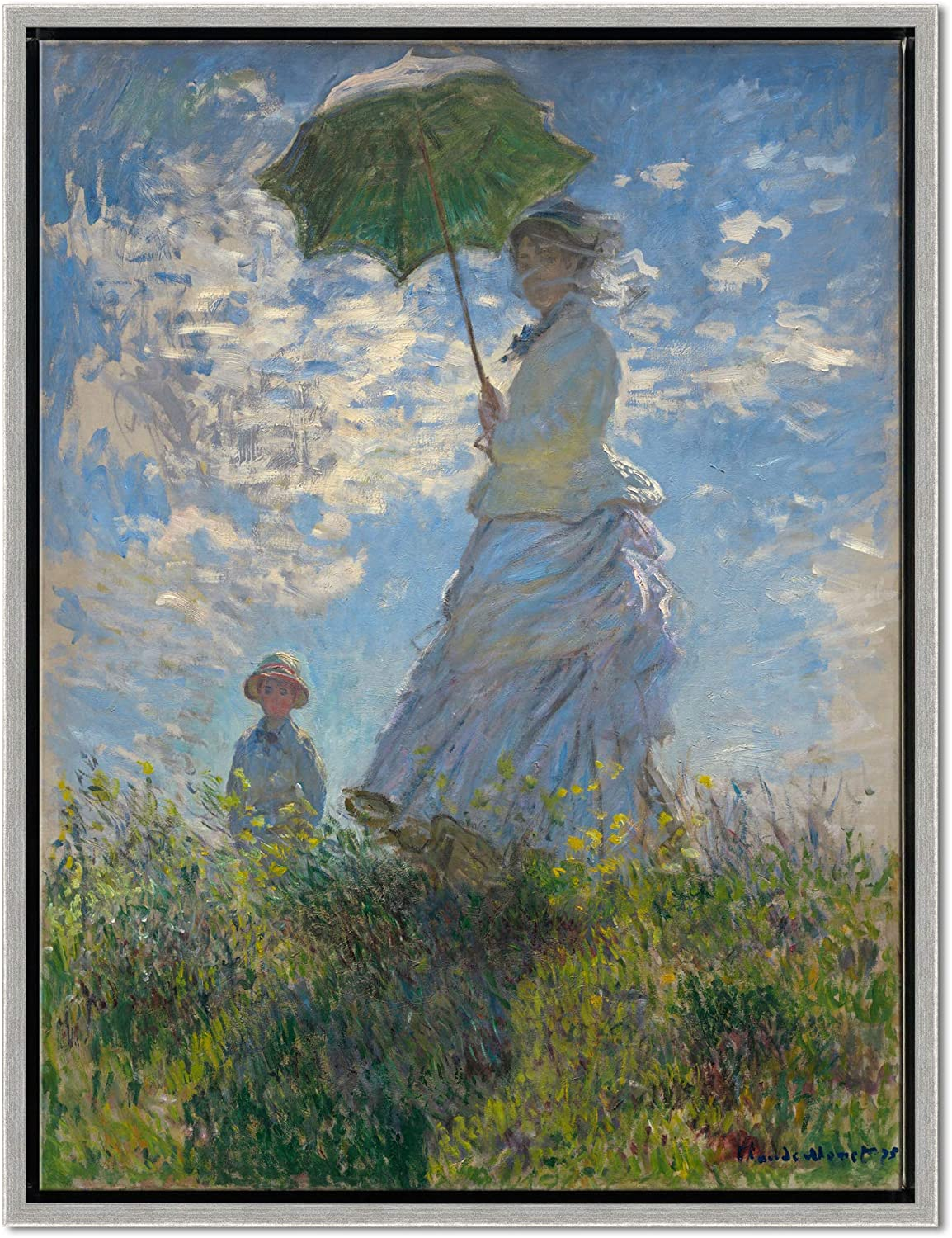 Wieco Art Framed Art Woman with a Parasol Madame Monet and Her Son of Claude Monet Famous Classic Oil Paintings Reproduction Canvas Prints Wall Art for Bedroom Home Decor Silver Frame MON-0103-3040SF