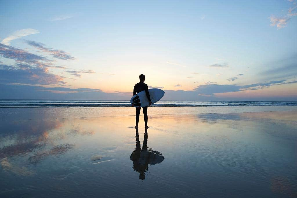 Surfer with Surfboard Deserted Beach at Sunset Ocean Water Reflection Surfing Sports Laminated Dry Erase Sign Poster 24x36