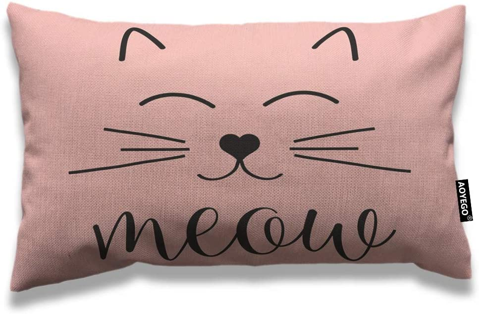 AOYEGO Cat Face Throw Pillow Cover 12x20 Inch Cute Animal Kitten Cat Smile Meow Rectangle Pillow Cases Home Decorative Cotton Linen Cushion Cover for Bed Sofa Pink