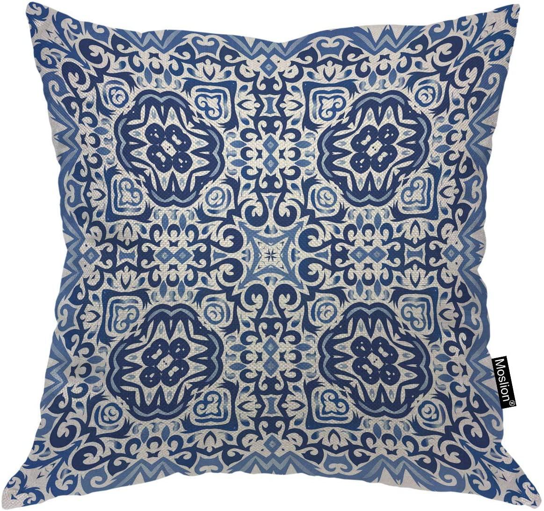 Moslion Throw Pillow Cover Geometric Morocco Tile Boho Floral Modern Art Design Navy Blue Indigo Color Square Pillow Case Cushion Cover for Home Car Decorative Cotton Linen 24x24 Inch