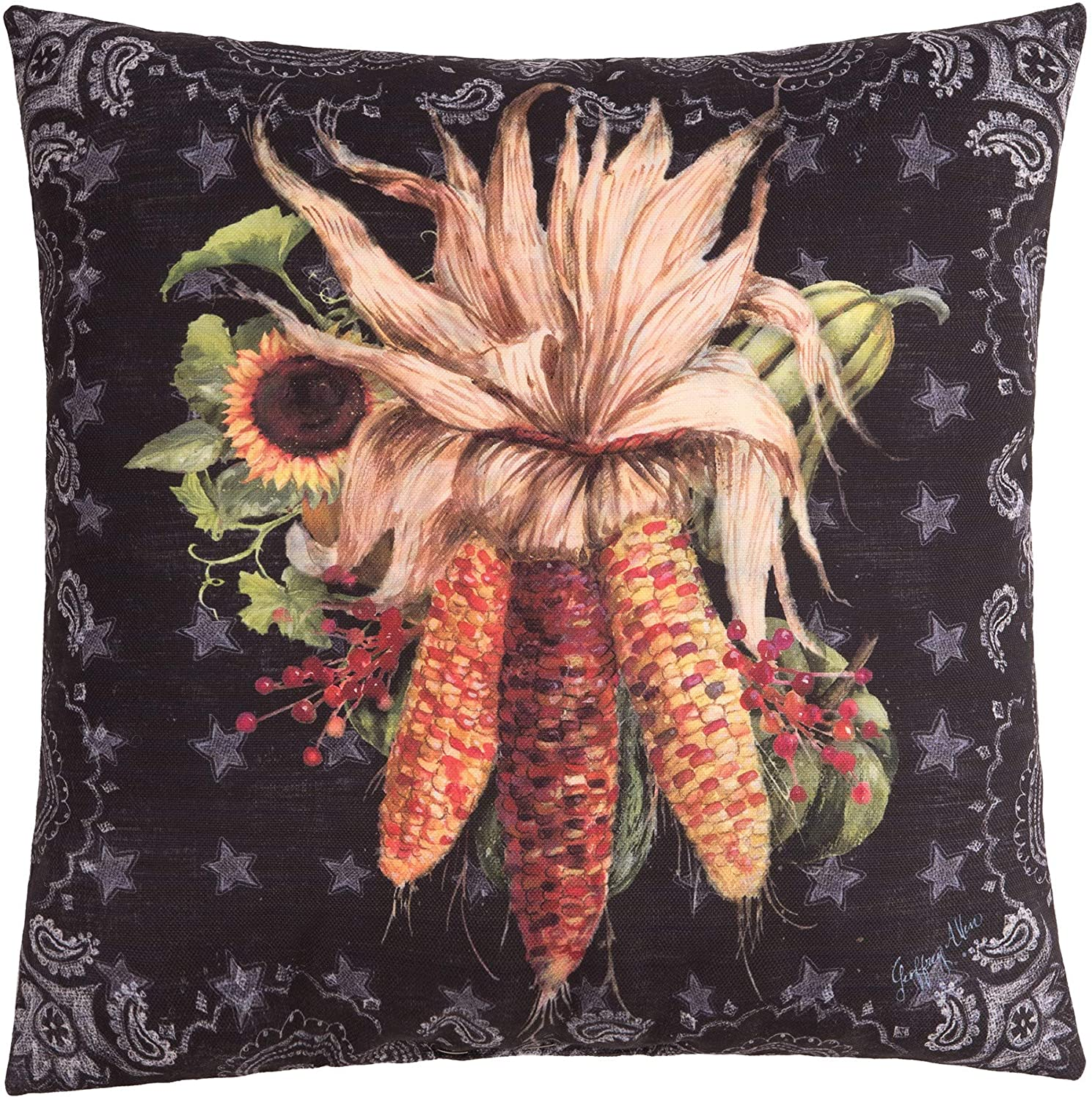 C&F Home Chalk Corn Pillow Fall Autumn Harvest Decorative Throw Pillow for Couch Chair Living Room Bedroom 18 x 18 Pillow Black Corn