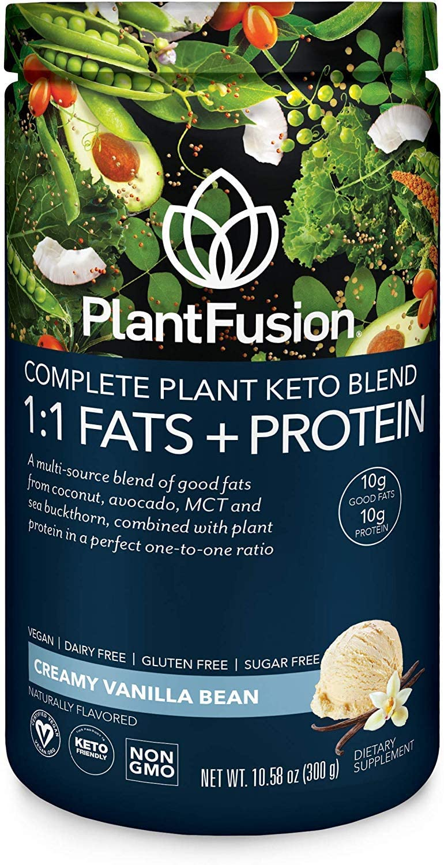 PlantFusion Complete Plant Based Keto Blend |1:1 Fats + Protein Powder Drink, Ketogenic Diet Supplement, MCTs, No Sugar, Gluten Free, Non Dairy, Vegan, Non Soy, Non GMO | Vanilla Bean, 10.58 Oz