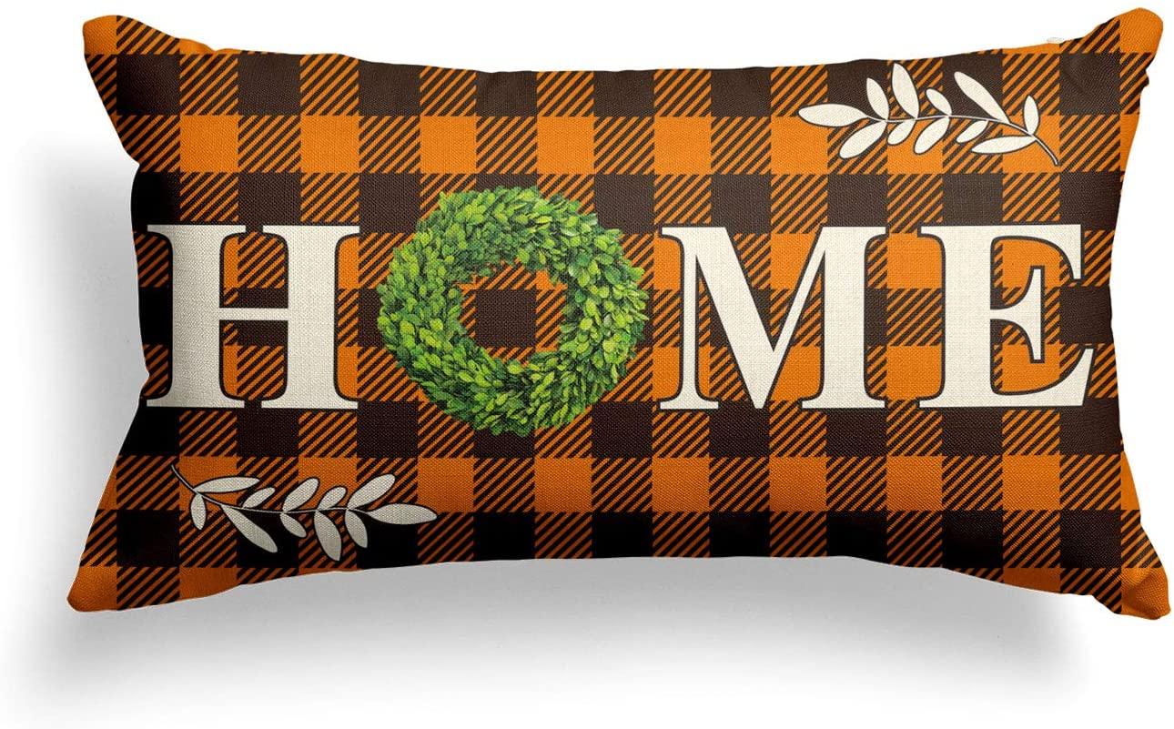AVOIN Boxwood Wreath Home Throw Pillow Cover, Fall Thanksgiving Buffalo Check Plaid 12 x 20 Inch Farmhouse Cushion Case Decoration for Sofa Couch