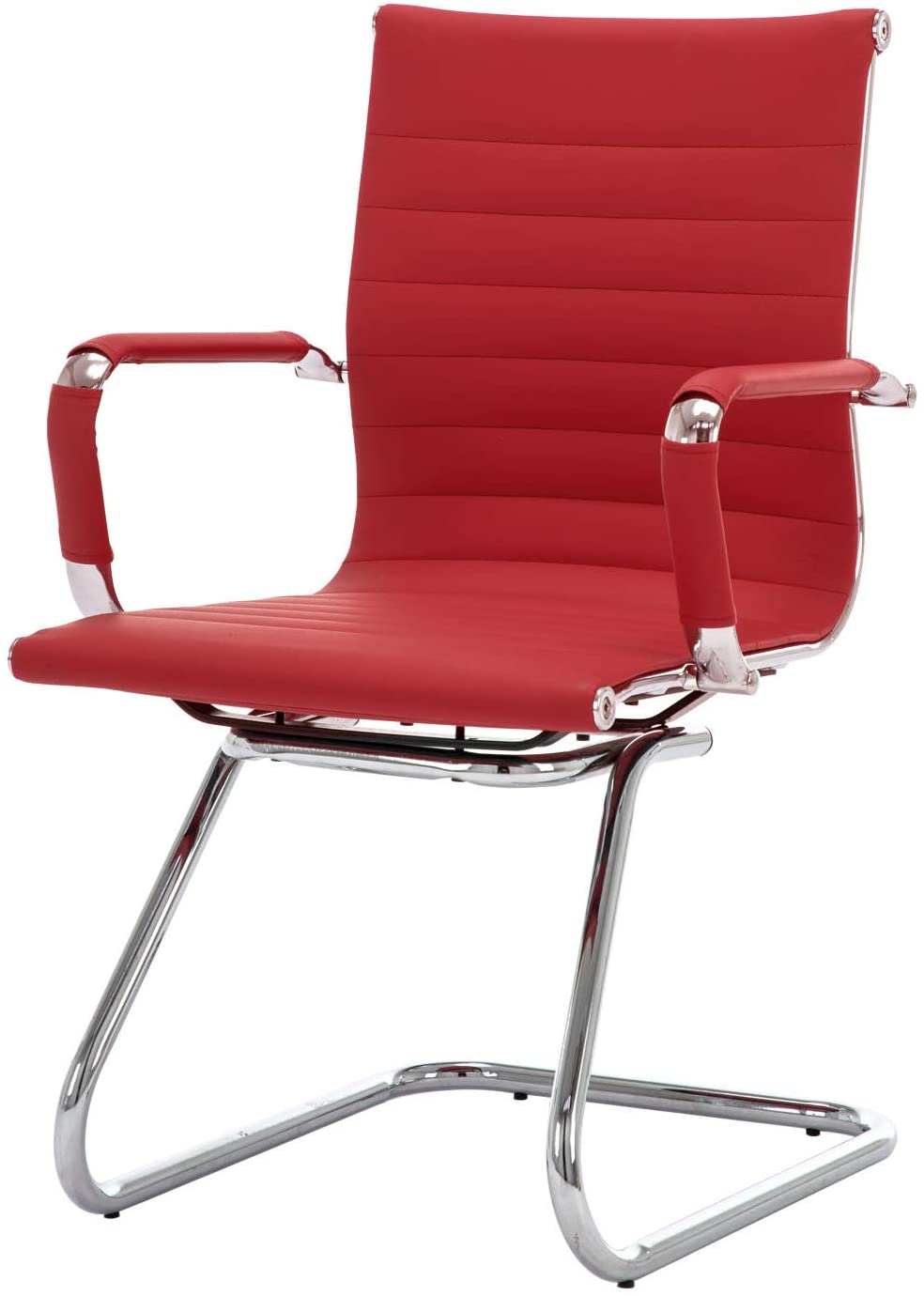 CIMOO Office Conference Chair Reception Guest Chairs PU Leather Mid Back Waiting Patient Room Chairs with Arms, Heavy Duty, Sled Base (Red, 1PC)