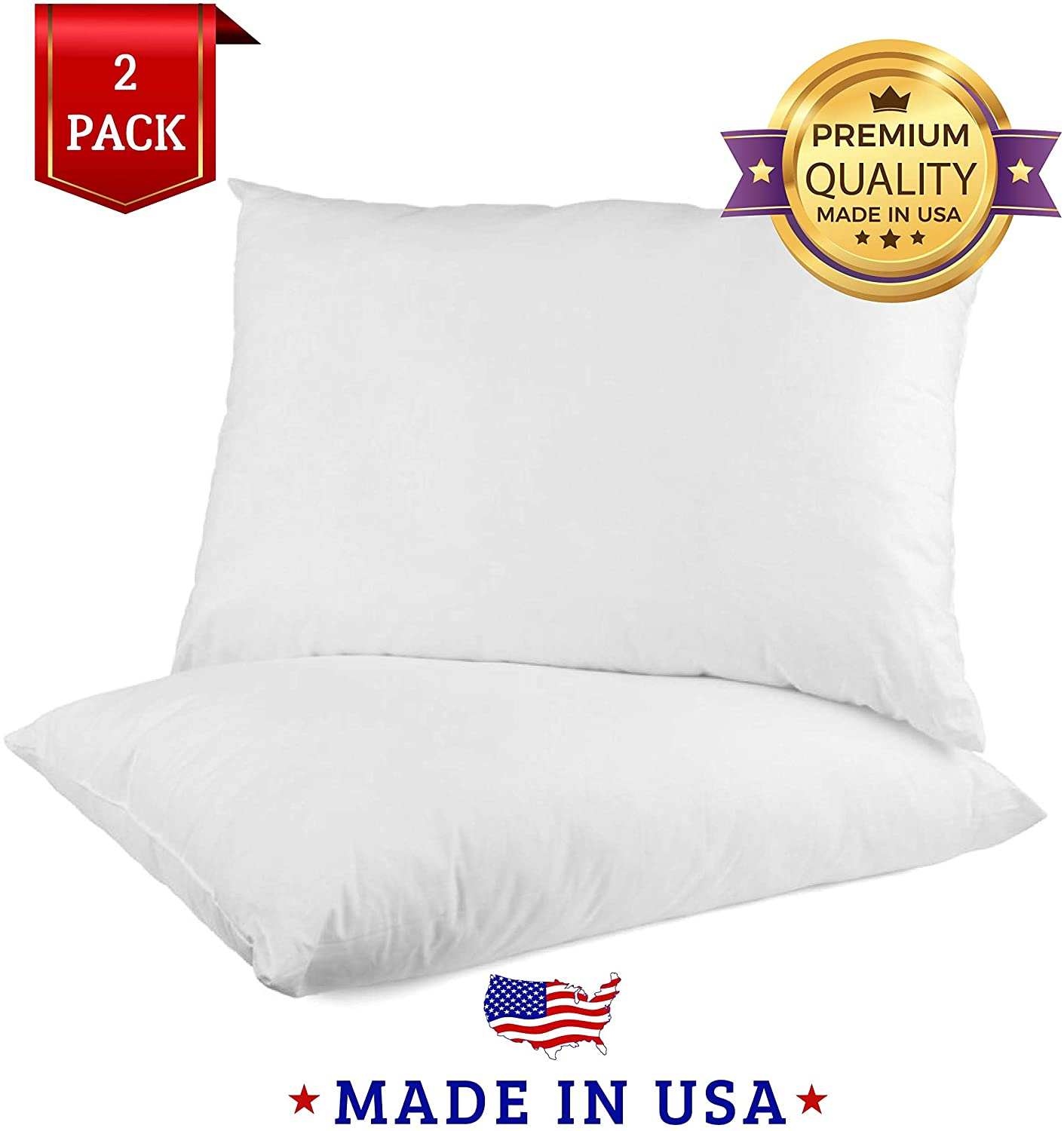 Looms & Linens Hotel Quality Pillow (2 Pack) - Luxury Hotel Pillows, Machine Washable, Hypoallergenic (King Size 20x36)