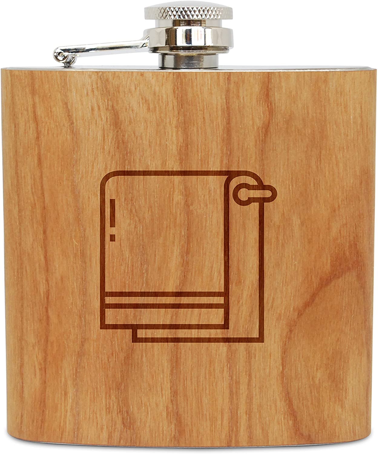 WOODEN ACCESSORIES COMPANY Cherry Wood Flask With Stainless Steel Body - Laser Engraved Flask With Towel Design - 6 Oz Wood Hip Flask Handmade In USA