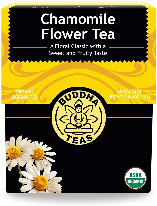 Organic Chamomile Flower Tea Leaves - Kosher, Caffeine-Free, GMO-Free - 18 Bleach-Free Tea Bags