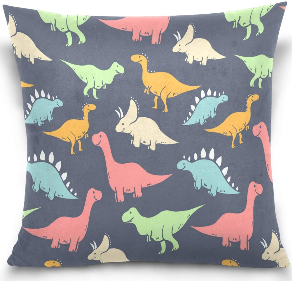 Olinyou Kawaii Dinosaur Colorful Printing Throw Pillow Cases Decorative Square Pillowcase Cushion Cover 16 x 16 Inch
