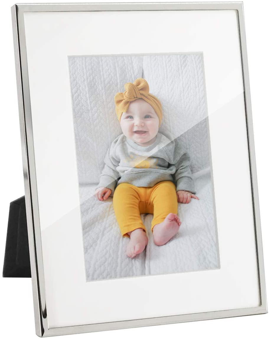 Afuly Silver Plated Picture Frame 4x6 or 6x8 Without White Mat Modern Metal Glass Photo Frame Wall Mounted Table Top Display Wedding Decorations Gifts