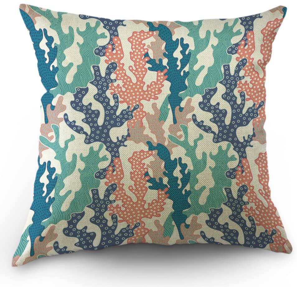 Moslion Coral Pillows Decorative Throw Pillow Cover Ocean Colorful Corals Reef Pillow Case 18 x 18 Inch Cotton Linen Square Cushion Cover for Valentine's Day Sofa Bed Pink Blue Green Purple