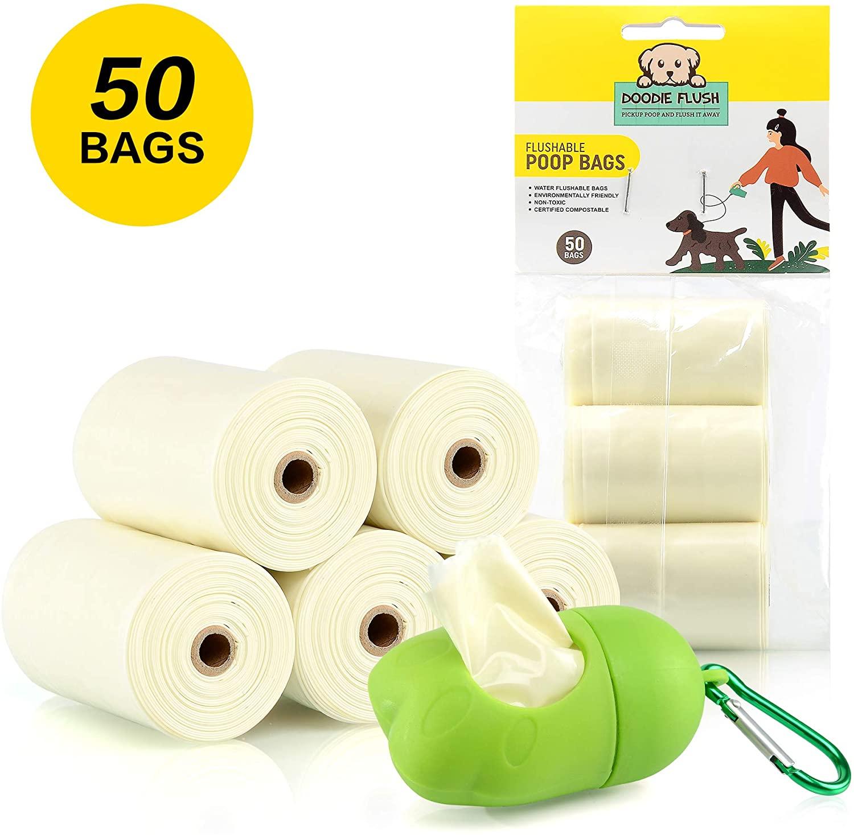 Doodie Flush Dog Poop Bag – 50 Biodegradable Dog Waste Bags on rolls with quick Pet Waste Bag Dispenser Doody Bag Holder for Leash – 100% Eco Friendly, Flushable, Ultra Thick, Compostable Doggie Bags