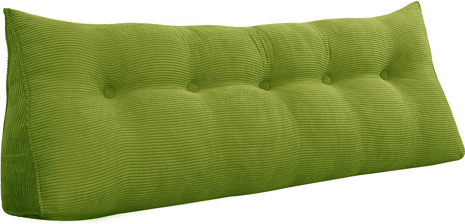 WOWMAX Triangular Reading Pillow Large Bolster Headboard Backrest Positioning Support Wedge Pillow for Day Bed Bunk Bed with Removable Cover Green Queen