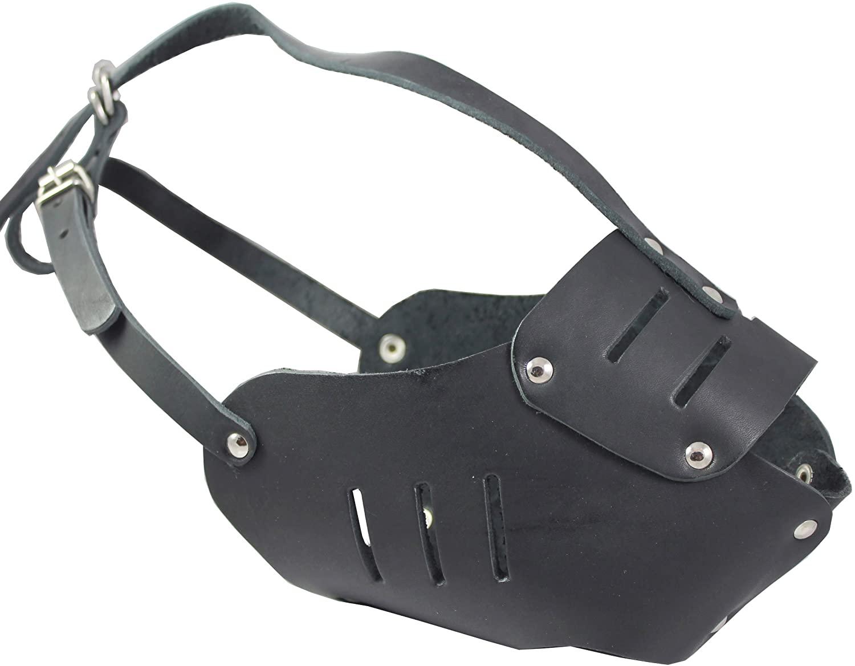 Real Leather Cage Basket Secure Dog Muzzle #131 Black - Great Dane, Saint Bernard, Mastiff(Circumference 15