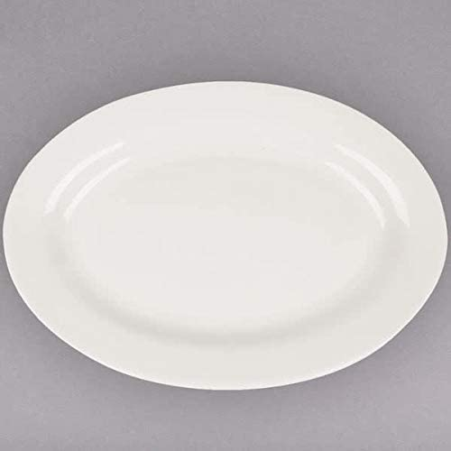 Restaurant China, Wide Rim with Rolled-edge, America White Stoneware Oval Platter 12 1/2