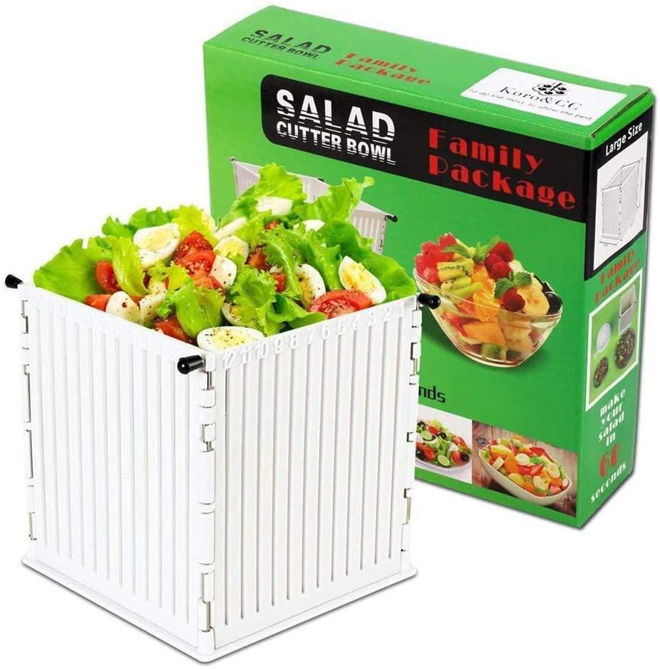 Salad Cutter Bowl HDPE PP Fruit Salad Square Slicer Vegetable Chopper Fast Vegetable Fruit Salad Chopper Bowl Cutting Food Slicer Bowl 16x16.5cm