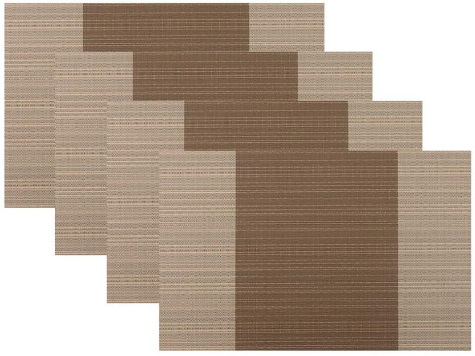 Placemat, Crossweave Woven Vinyl Non-Slip Insulation Placemat Washable Table Mats Set(4pcs) (Coffee)