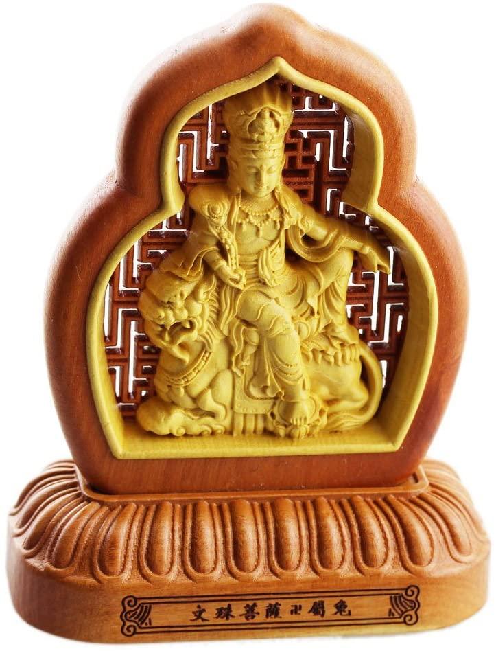 FOY-MALL Jujube Wood and Boxwood Guardian of 12 Zodiac Rabbit Statue Manjusri S1054