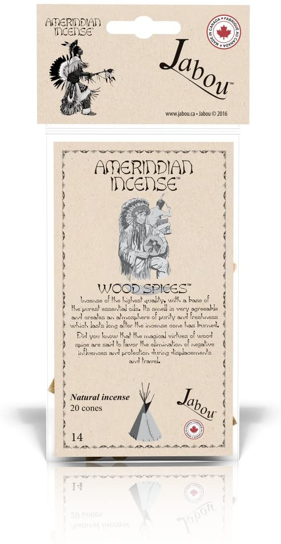 Jabou Amerindian 100% Natural Incense Cones - Wood Spices - for Meditation, Yoga, Relaxation, Magic, Healing, Prayer & Rituals - 20 Cones - Each Lasting 30+ Minutes