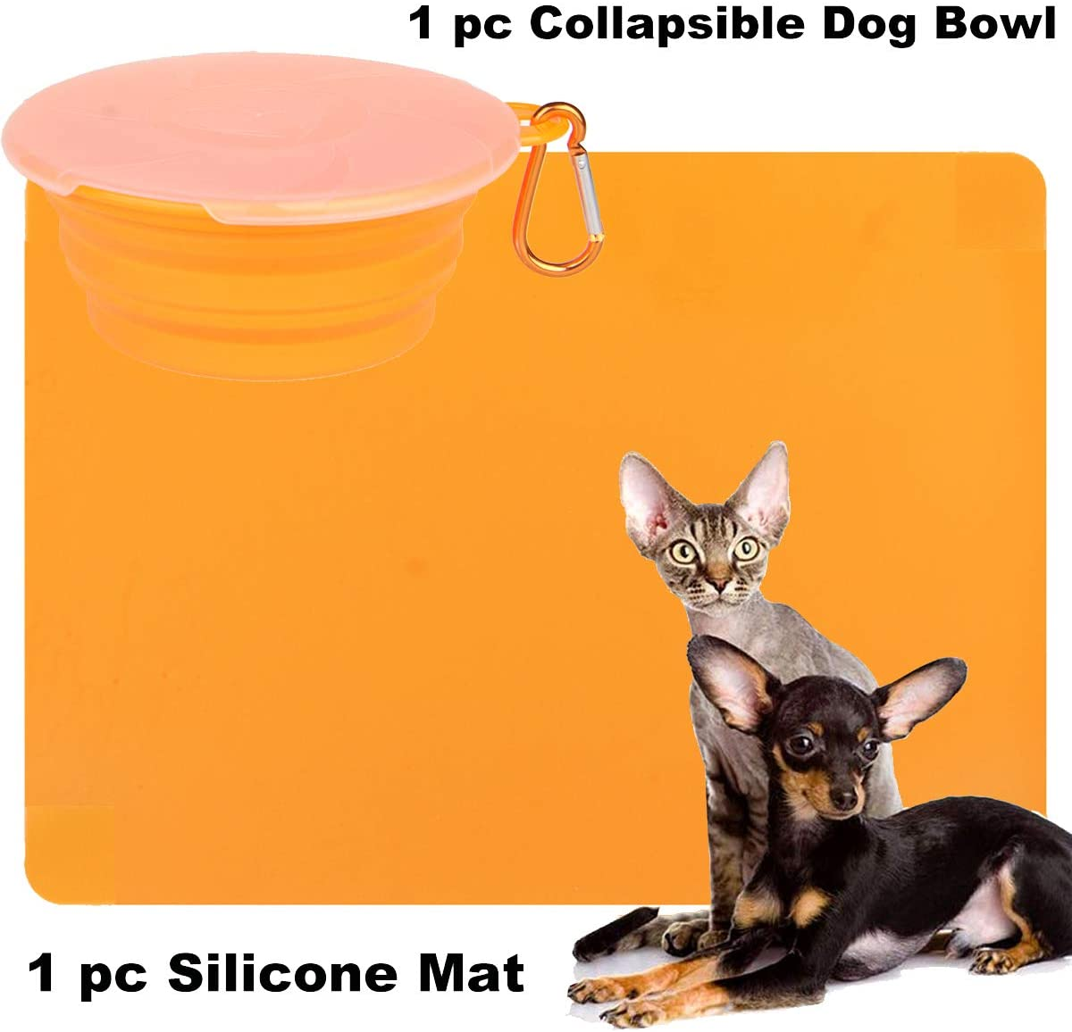 IETANG Ollapsible Pet Dog Dish Bowl with Lid,Dog Silicone Waterproof Placemat Mat, Non-Skid Spill Proof Pet Feeding Mat for Dog Water Feeding Portable Travel