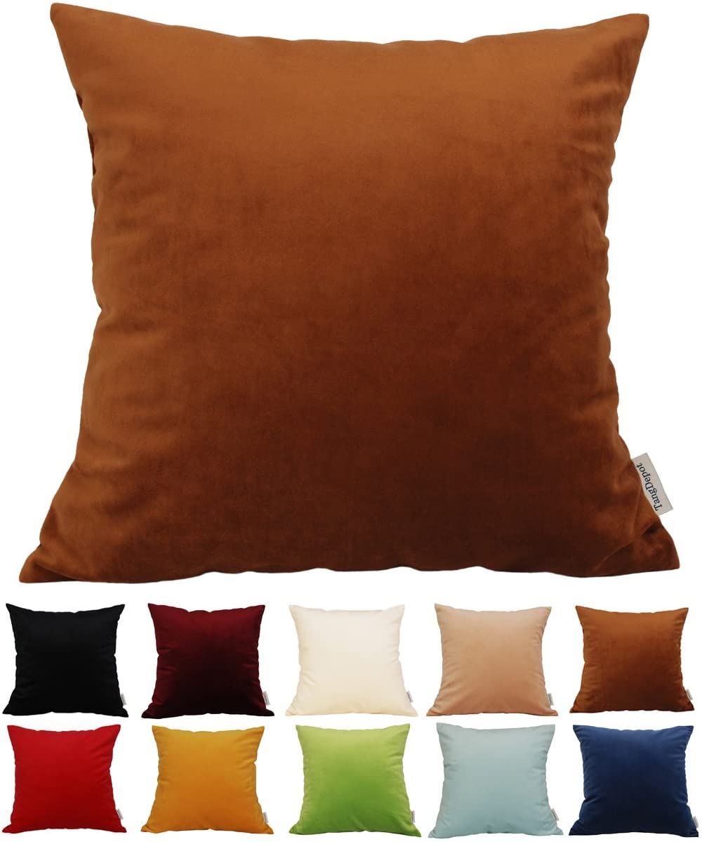 TangDepot Solid Velvet Throw Pillow Cover/Euro Sham/Cushion Sham, Super Luxury Soft Pillow Cases, Many Color & Size Options - (20